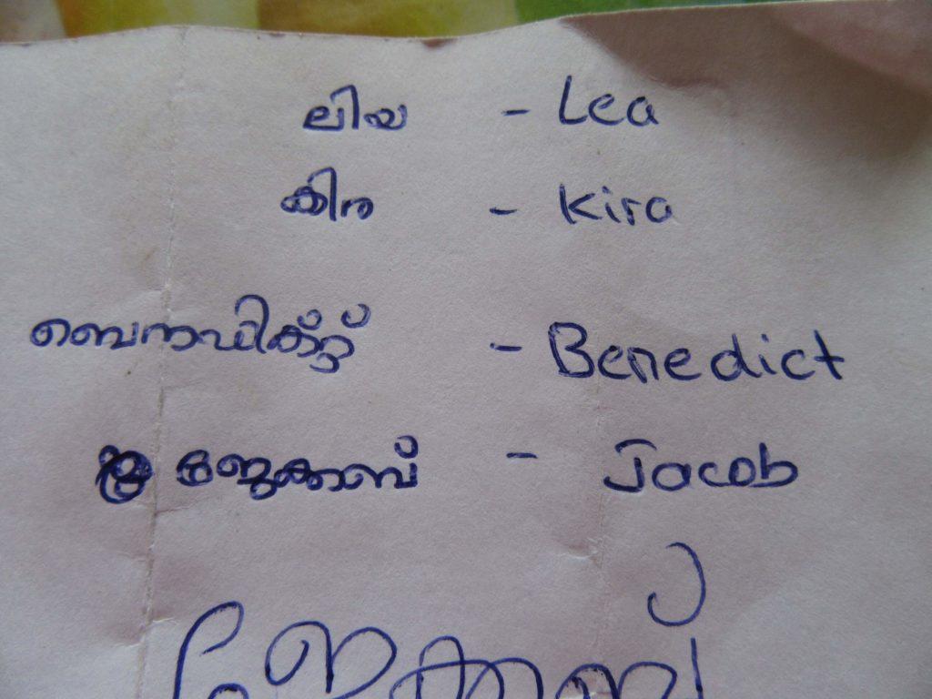 Nicht Tamil, aber auch eine dravidische Sprache: Malayalam. In Kerala.