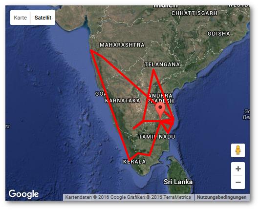 Meine Route durch Indien. Von Vellore (Marker) aus erkundete ich das Land - zumindest den Süden.